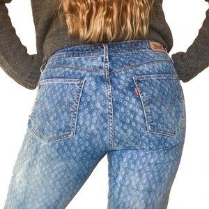Levi Strauss Mid Rise Skinny Ikat Pattern Jeans 10